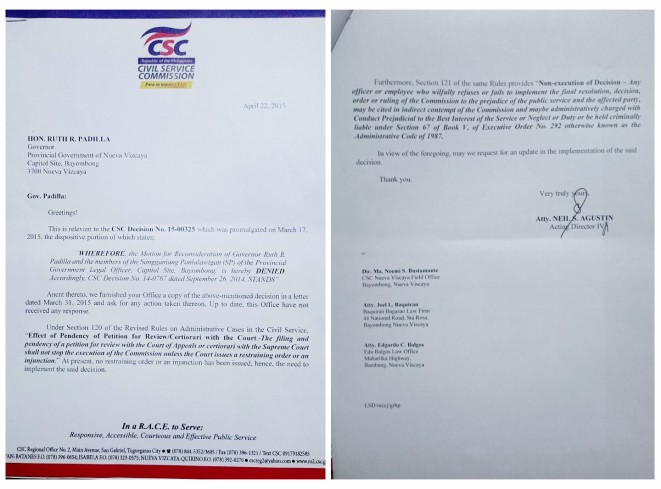 The letter of lawyer Neil Agustin, CSC acting regional director.